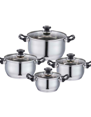 8PC Black Stainless Steel Pot Set